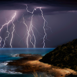 Incoming storms by Craig Eccles - Landscapes Weather ( thunder, water, lightning strike, lightning, lightning storm, thunder storm, ocean, thunder bolt, storm, weather. )
