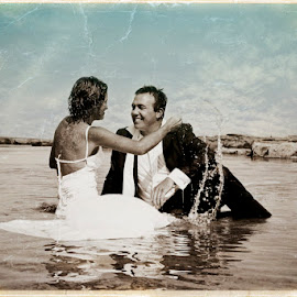 Hot Summer Day by Alan Evans - Wedding Bride & Groom ( water, old style, bathing, wedding photography, vintage, waterscape, wedding day, wedding, aj photography, summer, wet, bride and groom,  )