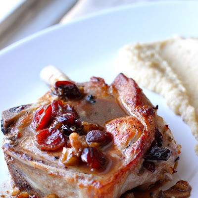 Cranberry-Pecan Stuffed Pork Chops & Apple-Parsnip Mash