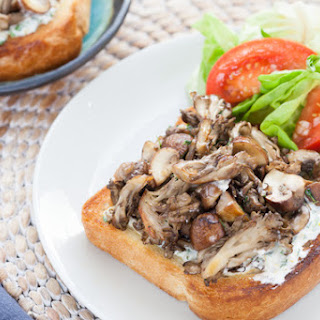Mixed Mushroom Toasts with Lemon-Basil Mayo & Tomato Salad