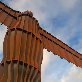 Angel of the North by Gareth Dickin - Buildings & Architecture Statues & Monuments ( clouds, statue, sky, red, blue, steel,  )