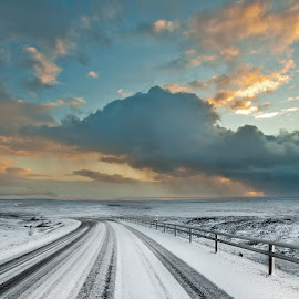 Iceland South Coast  by Jude Stewart - Landscapes Travel ( clouds, iceland, sky, snow, sea, south, road,  )