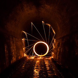 Fire Math by Simon Toogood - Abstract Light Painting ( steel wool, reflections, symmetry, fire, tunnel )
