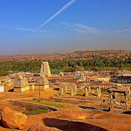 by Ami Bhat - City,  Street & Park  Historic Districts ( hampi, virupaksha temple, unesco site, india, stone city, karnataka )