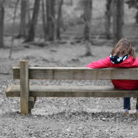 Bench with a view by Carl Maskelyne - City,  Street & Park  City Parks ( new, girl, park, bench, trees, forest,  )