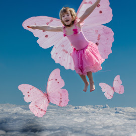 Flying high by Angelica Glen - Digital Art People ( clouds, flying, butterfly, magic, girl, fairy )