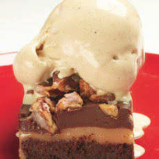 Layered Brownies with White-Chocolate Caramel and Cocoa Nib Gelato