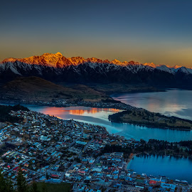 Iconic Queenstown Scene by Pete Whittaker - City,  Street & Park  Vistas ( mountain, sunset, lake, cityscape, landscape, new zealand )