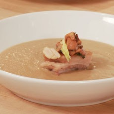 Roasted Chestnut Soup with Wild Mushrooms and Crispy Pork Belly