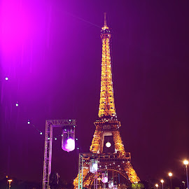Paris by Deniz Özmen - City,  Street & Park  Historic Districts ( paris, purple, umbrella, france, rain, creativity, lighting, art, artistic, mood factory, lights, color, fun )