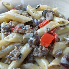 Sausage and Mostaccioli With Rich Cream Sauce