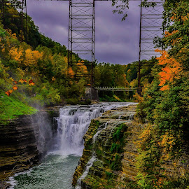 by Brooks Travis - Landscapes Waterscapes ( letchworh state park, autumn, gorge, fall foliage, water falls, train, trestle, cloudy, bridge, genesee, river )