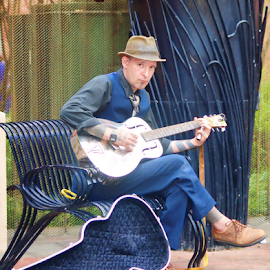 Soul searching by Kim Rogers-Krahel - People Street & Candids ( columbus, ohio, guitar, street performer, man )