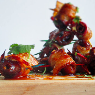 Bacon Wrapped Dates with Spicy Honey