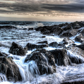 Power of the Sea by Daren Richard Stemp - Digital Art Places ( rock beach sea power waves )