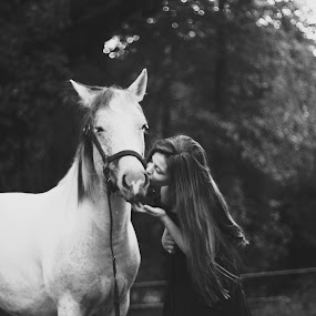 Kiss by Annamarie Dearr - Animals Horses ( love, kiss, animals, girl, best friends, horses, black and white, candid )