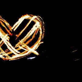 Flame Spinners by Jennifer Parmelee - Abstract Fire & Fireworks ( flame spinner, heart, places, people, fire )