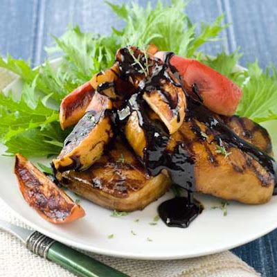Gluten Free Molasses Brined Pork Chops with Roasted Apples & Balsamic Glaze