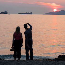 Sunset Silhouette by Dana Styber - People Couples ( vancouver bc, silhouette, sunset, couple, beach, people )