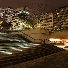 Stairs by Cory Bohnenkamp - City,  Street & Park  Night ( stairs, law courts, night, robson square, vancouver, city )