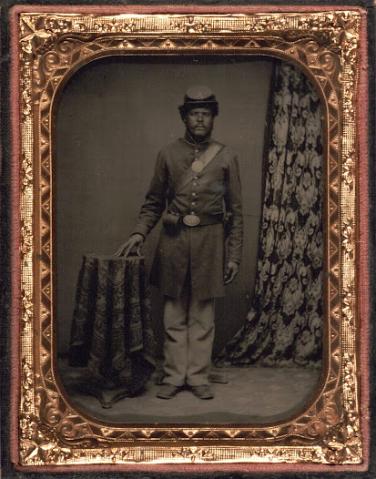 "Nonetheless, Frederick Douglass predicted that the <a href=""https://www.gilderlehrman.org/collections/280b4fc0-4866-489e-9bbd-011065212089"">black soldier</a> would be respected once he had ""an eagle on his button, a musket on his shoulder, and the star spangled banner over his head."""