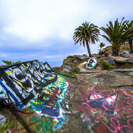 Sunken City by Juan De Leon - City,  Street & Park  Street Scenes ( grafitti, old, sunken, park, graffiti, colors, ocean, beach, landscape, city )
