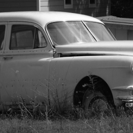 by Wesley Nesbitt - Transportation Automobiles ( old, classic car, vintage, black and white, rust, antique,  )