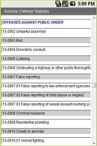 Arizona Criminal Statutes