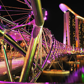 Marina Bay Sands by Travis Lee - City,  Street & Park  Night ( holiday, mbs, marina bay sands, tourism, night, casino, bridge, hotel, travel, singapore, city, destination,  )