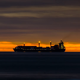 Always on the move by Sanjeev Goyal - Landscapes Travel ( orange, blue, sea, yellow, light )