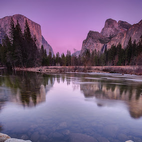 Sunset at Gates of the Valley by Ferruccio Galbiati - Landscapes Mountains & Hills ( nature, yosemite, california, sunset, landscape, travel photography )