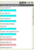 Screenshot of Pressure Washing Estimator