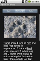 Screenshot of MyNature Animal Tracks