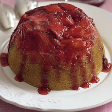Sticky Rhubarb & Strawberry Sponge Pudding