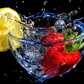 Fruit Splash by Melissa Connors - Food & Drink Alcohol & Drinks ( fruit, splash, drink, strawberry, lemon )