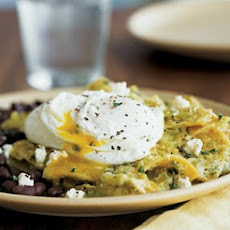 Chilaquiles with Poached Eggs and Black Beans