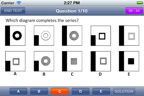 Abstract Reasoning EPSO tests - screenshot