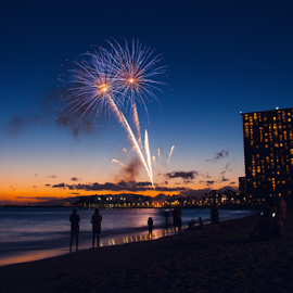 Waikiki beach Friday night fireworks 1 by Leah Varney - Landscapes Sunsets & Sunrises ( sunset, buildings, landscapes, ocean view )