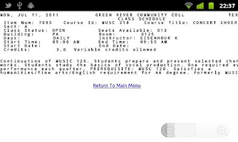 Screenshot of GRCC Student App