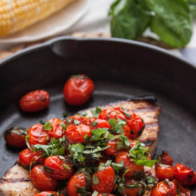 Grilled Swordfish with Tomatoes and Basil
