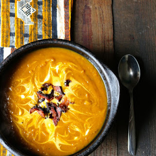 Brown Butter Squash and Sweet Potato Bacon Soup