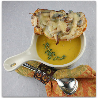 Roasted Pumpkin Bisque w/ Mushroom- Gruyere Crostini