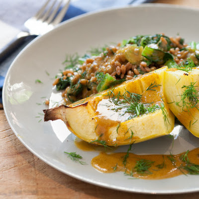Roasted Spaghetti Squash with Mustard Greens & Wheat Berries