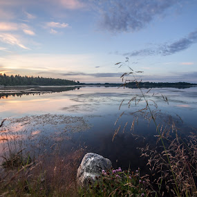 Sunset over water, sweden by Benny Høynes - Landscapes Sunsets & Sunrises ( sweden, waterscape, sunset, weather, landscape )