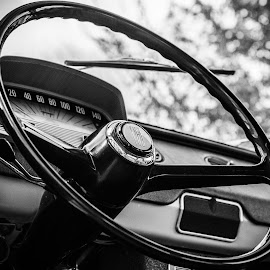 Fiat 850 by Alexandru Soare - Transportation Automobiles ( car, old, car interior, 4weels, black and white, 1965, fiat, clasic, classic,  )