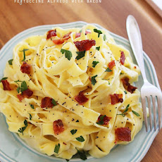 Lighter Fettuccine Alfredo with Bacon