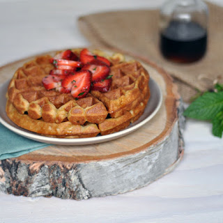 Cardamom and Nutmeg Waffles with Minted Strawberries