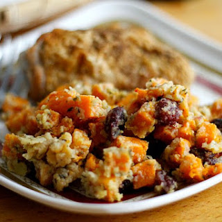 Butternut Squash, Apple and Cranberry Gratin