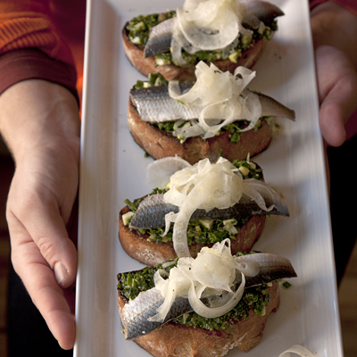 Marinated Sardine Crostini with Salsa Verde and Fennel