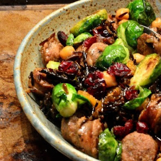 Wild Rice with Pork Sausage and Roasted Brussels sprouts
